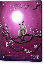 Siamese Cats In Spring Blossoms Acrylic Print by Laura Iverson