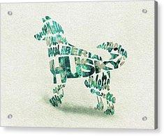Siberian Husky Watercolor Painting / Typographic Art Acrylic Print