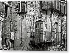 Acrylic Print featuring the photograph Sicilian Medieval Facade by Silva Wischeropp