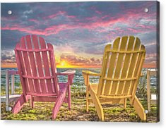 Side By Side At Dawn Acrylic Print by Debra and Dave Vanderlaan