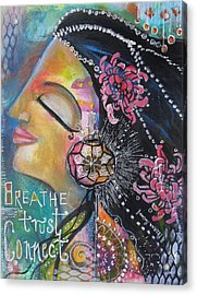 Acrylic Print featuring the painting Side Face With Words by Prerna Poojara