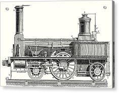 Sideview Of An Old Fashioned Locomotive Showing The Mechanism Of The Engine Acrylic Print by English School