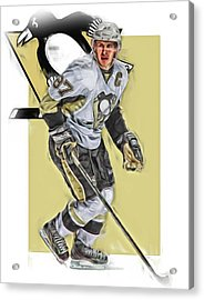 Sidney Crosby Pittsburgh Penguins Oil Art Acrylic Print by Joe Hamilton