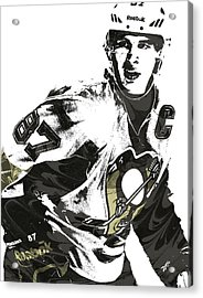 Sidney Crosby Pittsburgh Penguins Pixel Art Acrylic Print by Joe Hamilton