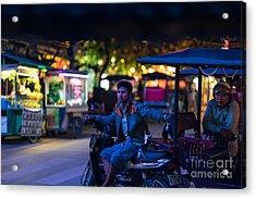 Siem Reap Night Tuk Tuk Driver Acrylic Print by Mike Reid