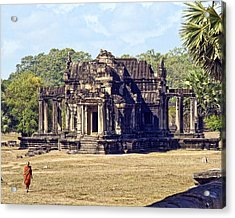 Siem Reap With Monk Acrylic Print