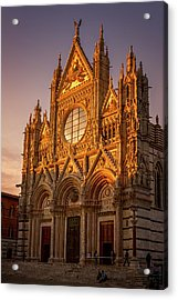 Acrylic Print featuring the photograph Siena Italy Cathedral Sunset by Joan Carroll