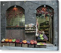 Acrylic Print featuring the photograph Siena Italy Fruit Shop by Mark Czerniec