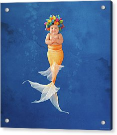 Sienna As A Mermaid Acrylic Print by Anne Geddes
