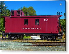 Sierra Railway Red Caboose No 7 Acrylic Print by Garry Gay