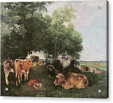 Siesta At Haymaking Time Acrylic Print by Gustave Courbet