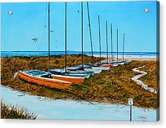 Siesta Key Access #8 Catamarans Acrylic Print by Lloyd Dobson