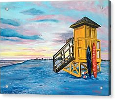 Siesta Key Life Guard Shack At Sunset Acrylic Print by Lloyd Dobson