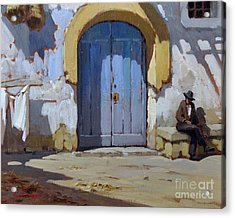 Acrylic Print featuring the painting Siesta Time In Naples by Rosario Piazza
