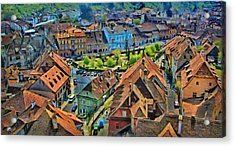 Acrylic Print featuring the painting Sighisoara From Above by Jeff Kolker