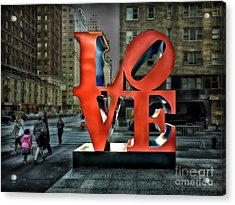 Acrylic Print featuring the photograph Sights In New York City - Love Statue by Walt Foegelle