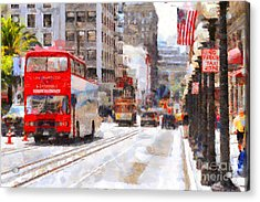 Sightseeing Along Powell Street In San Francisco California . 7d7269 Acrylic Print by Wingsdomain Art and Photography