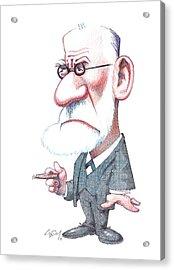 Sigmund Freud, Caricature Acrylic Print by Gary Brown