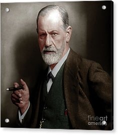 Sigmund Freud Colorized 20170520 Square Acrylic Print by Wingsdomain Art and Photography