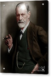 Sigmund Freud Colorized 20170520 Acrylic Print by Wingsdomain Art and Photography