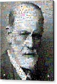 Sigmund Freud Mosaic Acrylic Print by Paul Van Scott