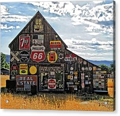 Acrylic Print featuring the photograph Signage Barn by David King