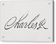 Signature Of King Charles I Of England Acrylic Print by Vintage Design Pics