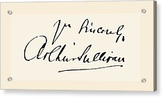 Signature Of Sir Arthur Seymour Acrylic Print by Vintage Design Pics
