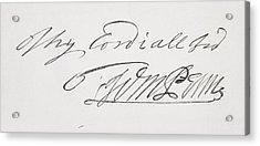 Signature Of William Penn 1644 To 1718 Acrylic Print