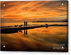 Silhouette And Amazing Sunset In Thassos Acrylic Print