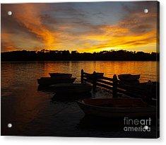 Silhouette Boats Acrylic Print by Trena Mara