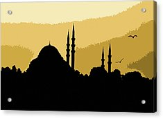 Silhouette Of Mosques In Istanbul Acrylic Print