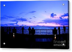 Acrylic Print featuring the photograph Silhouette Of People At Sunset by Yali Shi