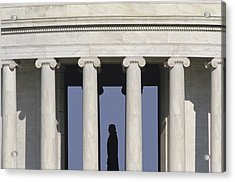 Silhouette Of The Jefferson Memorial Acrylic Print by Kenneth Garrett