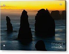 Silhouette Of The Twelve Apostles At Sunset Acrylic Print by Hideaki Sakurai