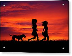Silhouette Of Two Girls And Dog Acrylic Print