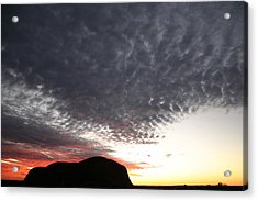 Silhouette Of Uluru At Sunset Acrylic Print