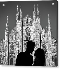 Silhouette Of Young Couple Kissing In Front Of Milan's Duomo Cathedral Acrylic Print
