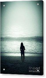 Silhouette On The Beach Acrylic Print