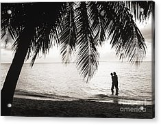 Silhouetted Couple Acrylic Print by Larry Dale Gordon - Printscapes