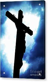 Silhouetted Crucifix Against A Cloudy Sky Acrylic Print by Sami Sarkis