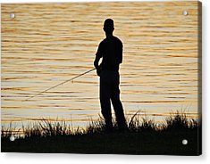 Acrylic Print featuring the photograph Silhouetted Fisherman by Teresa Blanton