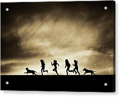 Silhouettes Of Running Girls And Dogs  Acrylic Print