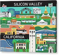 Silicon Valley California Horizontal Scene - Collage Acrylic Print