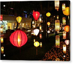 Silk Lamp Shades On The Street In Saigon Acrylic Print