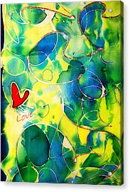 Silk Painting With A Heart  Acrylic Print
