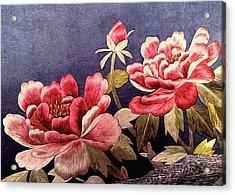 Silk Peonies - Kimono Series Acrylic Print