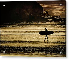 Sillhouette Of Surfer Walking On Rossnowlagh Beach, Ireland  Acrylic Print