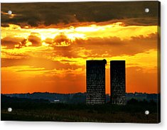 Silos At Sunset Acrylic Print by Michelle Joseph-Long