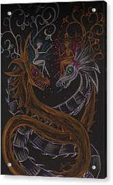 Acrylic Print featuring the drawing Silver And Gold by Dawn Fairies